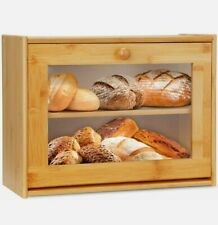 More details for &  large double layer bread box bamboo clear window storage organiser  !
