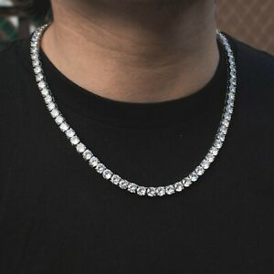 Men's Ladies Tennis Chain Real Solid 18k White Gold Flooded Out Diamond Choker