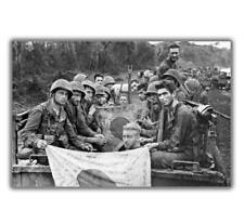 "War Photo U.S. Marines with captured Japanese flags Ww2 Glossy ""4 x 6"" inch G"