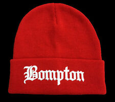 ALL SEASON RED BEANIE HAT **BOMPTON** WHITE LETTERS