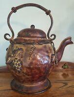 Vintage Decorative Artisan Rustic Metal Tea Pot Vinyard Motif Home Decor