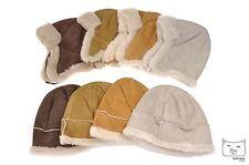 New Unisex Mens Womens Sheepskin Lambskin Winter Aviator Beanie Bucket Hats Fur