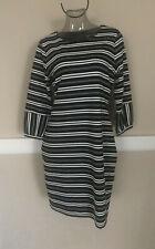 CALVIN KLEIN Black / White Stripe Sheath Dress Sz 10 NWT M8FDQ859