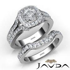2.8ctw Pavé Set Nupcial Halo Anillo Compromiso Diamante Redondo GIA G-VVS2 Oro