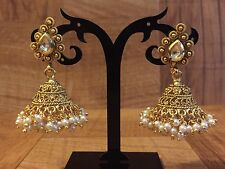 Indian Pakistani Bollywood Kundan Gold Plated WhitePearl Moti Jhumki Bali Earing