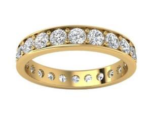 Eternity Anniversary Ring Round Cut Diamond I1 G 2.20 Carat 14K Gold Pave Set