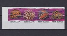 cook islands 1980/2 Sc 568 coral,strip of four,imperf,MNH         m2144