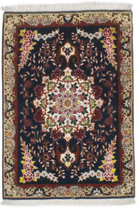 Rare Dark Navy Hand-Knotted 2X3 Classic Floral Design Oriental Area Rug Carpet
