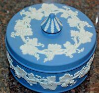 GORGEOUS Wedgwood Blue Jasperware Covered Powder Jar Trinket Box Grape Vines