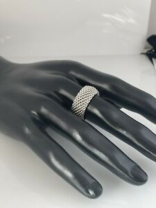 Size 10.5 Tiffany & Co Sterling Silver Somerset Mesh Dome Weave Mens Unisex Ring