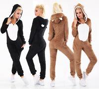 Tuta donna monopezzo intero pigiama tutina orso teddy orecchie cappuccio nuovo