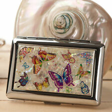 Mother of Pearl Butterfly Metal Cigarette Tobacco Holder Credit Card Case Wallet