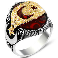 Solid 925 Sterling Silver Red Zircon Stone Crescent Star Men's Ring