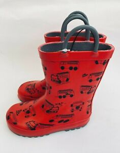 MOTHERCARE Boys Baby Wellies Red Fire Engines Handles Waterproof Snow Boots NEW
