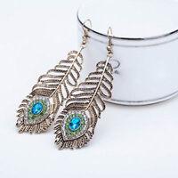 Vintage Women Rhinestone Peacock Eye Feather Dangle Hook Earrings Jewelry