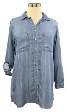 Side Stitch Womens Blouse Denim Large Long Roll-tab Sleeve Button Up Pockets
