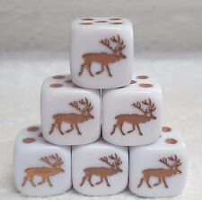 Dice -16mm *Elk* -6/Set- Op White w/Brown Elk #1/Brown Pips - Koplow'S Newest!