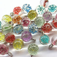 Random 10pcs Glass Clear Bead Flower Charm Pendant Craft Jewelry Finding J1953