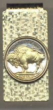 Gold on Silver Hinged Buffalo Nickel Money Clip (Minted 1913-1938) 8MC