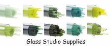 Tube of 20 Mixed Greens Bullseye 90coe 1mm Kiln Fusing Glass Stringers