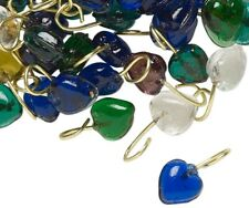 100 Mixed Glass 7x4mm Heart Charms with Brass Hangers