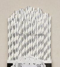 50 Silver Foil Striped Straws/Great Gatsby Decor/30th Birthday/Birthday Decor