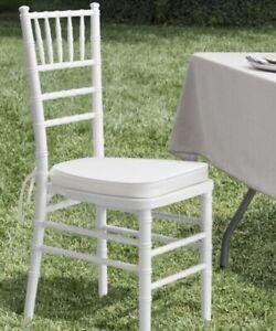 Chiavari Banquet Event Chair Cushion Ivory Fabric Tie Back Memory Foam Insert