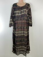 Urban Outfitters teal green burgundy boho hippie paisley midi dress size 12 14
