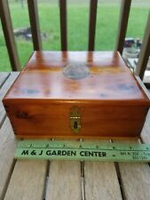 Vintage Wood Wooden Dovetail Cedar Jewelry Trinket Box Sailing Ship Clipper