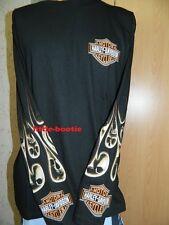 Harley-Davidson Shirt Herren Langarm-Shirt schwarz Gr. L Neu Flame Skulls SALE