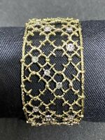 Alexis Bittar Crystal Studded Spur Lace Cuff in Gold, with Original Box