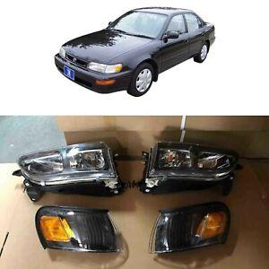 JDM DX Black Headlights Corner Signal Lights for 1993 1997 Toyota Corolla Set