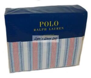 Ralph Lauren Polo Henry Stripe Red & Navy Blue  4P Queen Sheet Set Cotton $170