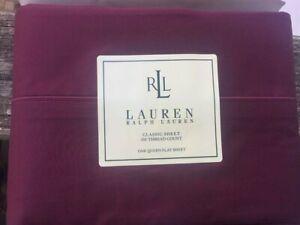 NEW Ralph Lauren Classic Queen Flat Sheet Currant Maroon Burgundy Red 350tc