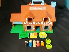 Fisher-Price Vintage 1986 Play House Attached Garage Playset w/ Figures Loose
