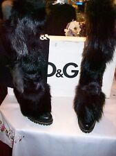 NEW DOLCE & GABBANA $1,600 BLACK KNEE HI  FUR  HIGH  HEEL BOOTS  SIZE 39  (US 8)