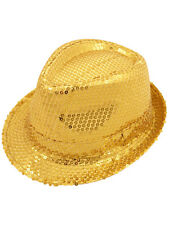 20s Gangster Gold Sequin Fedora Trilby Hat Fancy Dress