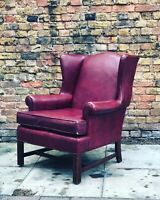 Armchair Upholstered In A Faux Red Leather