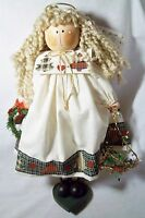 """FABRIC ANGEL WITH WREATH AND STARS. VERY CUTE PERFECT FOR CHRISTMAS 13"""""""