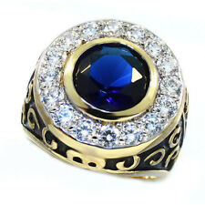 Round Blue Stone And Clear Cz Gold Ep Mens Antique Style Ring Size 9
