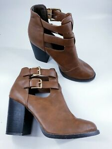 New Look size 5 (38) tan brown faux leather buckle strap block heel ankle boots