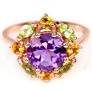 NATURAL AAA PURPLE AMETHYST PERIDOT & CITRINE STERLING 925 SILVER RING SIZE 8.5