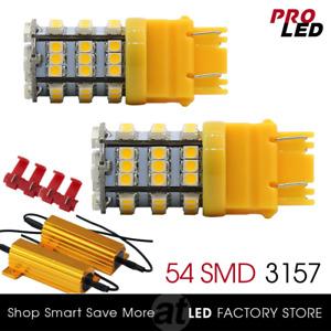 3157 3156 Amber Yellow Chip LED Turn Signal Lights bulbs + 50W Load Resistor