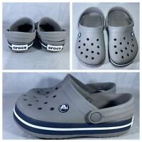 Crocs Kid's Crocband Clog | Slip On Water Shoe Big Kids Smoke/Navy Size J1