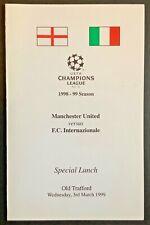 More details for man utd v inter milan 1999 champions league menu manchester united treble