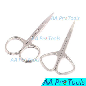 2 Cuticle Nail Small Beauty Scissors Arrow Straight & Curved Pedicure Flat Skin