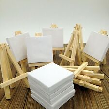 Lot of 10 Blank Canvas and Display Easel, Great for Wedding Name Boards 3x3""