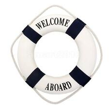 Welcome Aboard Nautical Life Lifebuoy Ring Boat Wall Hanging Home Decor Blue