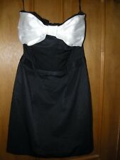 TOPSHOP DRESS SHORT MINI GOING OUT PARTY BLACK WHITE DRESS SIZE 8 USED