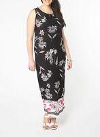 Ex Evans Black White Pink Sleeveless Floral Trim Neck Maxi Dress Plus Size 14-20